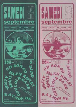 SAM 23/09 : OD BONGO + ELLEN RIPLEY + COULOIR GANG + RAYMOND IV + TUNIS ALPHA + DJ IVG