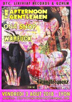 VEN 03/08 : THE AFTERNOON GENTLEMEN + ONA SNOP + WARFUCK + GRUNDFREQUENZ