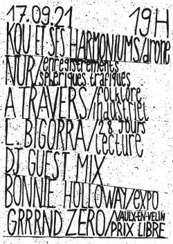 VEN 17/09 : KOU et ses Harmoniums + NuR + A Travers + L.Bigorrà, 28 Jours + ouverture de Synapses de Bonella Holloway + DJ Guest Mix