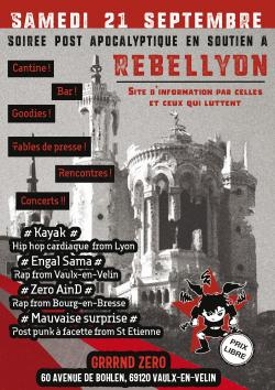 SAM 21/09  : Fete de soutien à Rebellyon - de 18 h à minuit