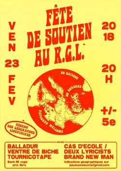 VEN 23/02 : FÊTE DE SOUTIEN AU RGL - VENTRE DE BICHE + DEUX LYRICISTS & CAS D'ÉCOLE + THE BRAND NEW MEN + BALLADUR + TOURNICOTAPE
